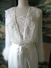 VINTAGE 80'S JONQUIL ROBE GOWN SET MARABOU FEATHERS LACE SEQUINS PEARLS USA M