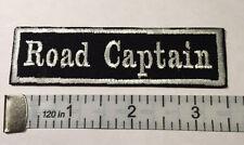 "Biker vest patch  Road Captain 3.5"" X 1"" IRON/SEW ON (WHITE ON BLACK)"