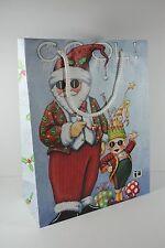 Mary Engelbreit Christmas Cool Dude Santa & Elf Large Gift Bag Mint
