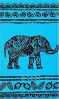 Serviette de plage Drap de bain Elephant turquoise en Jacquard coton