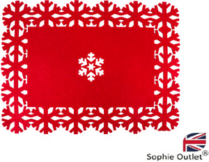 CHRISTMAS TABLE MATS Set Of 8 Rectangle RED FELT Dinner Place Mat GMXMA1775 UK