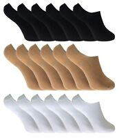 6 Pairs Ladies No Show Bamboo Footsies Ankle Trainer Socks Shoe Liners 3 colours