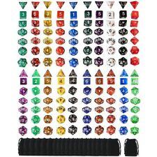 140pcs Polyhedral Board RPG MTG Game Dice 20 Set 4D 6D 8D 10D 12D 20D + 20 Pouch