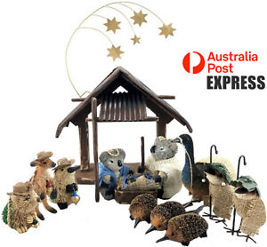 15-PIECE AUSTRALIAN ANIMALS & BIRDS CHRISTMAS NATIVITY SCENE, DISPLAY, GIFT