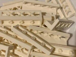New - Lego 25 White 1x4x1 Fence - 3633 / City etc