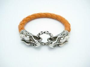 "John Hardy Naga Double Dragon Clasp Sterling Orange Leather Bracelet 7.5"" - A"