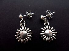A PAIR OF CUTE LITTLE TIBETAN SILVER SUNFLOWER THEMED POST EARRINGS. NEW.