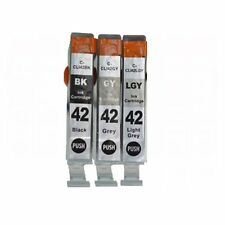 3-PACK CLI-42 BK / GY / LGY Ink Cartridges for Canon PIXMA PRO-100 Printer