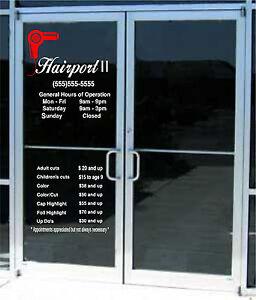 Custom Business Store Hours & Custom Lettering Sign Vinyl Sticker Window Door