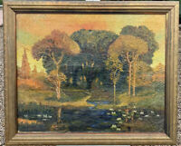 Arts & crafts Forest Landscape Oil on canvas By John Joseph Enneking Listed