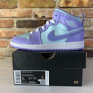 Nike Air Jordan 1 Mid Aqua Purple Pulse Arctic Punch PS Size 1y 640734-500