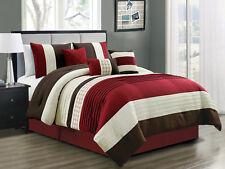 7-Pc Yuma Diamond Stripe Southwest Comforter Set Burgundy Red Beige Brown Queen
