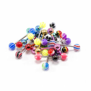 """Tongue Rings Straight Barbells 14G 5/8"""" Surgical Steel No Duplicate Set Of 20"""