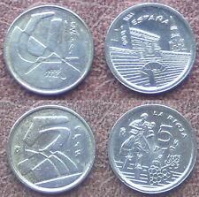 2 Münzen - 5 PTAS und 5 PTAS LA RIOJA MÜNZEN. SPANIEN.  1992/1996