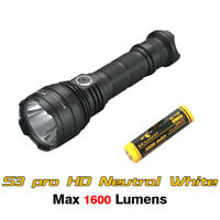Skilhunt S3 Pro HD Neutral White Rechargeable Tactical Flashlight Torch+Battery