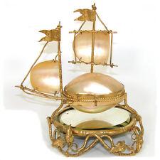 Rare Antique French Palais Royal Sewing Etui, Casket, Sailboat w/ Mirror Plinth