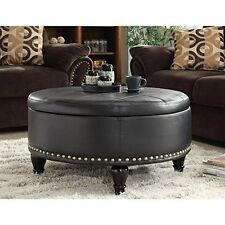 Office Star BP-AUOT32-B3 Augusta Eco Leather Round Storage Ottoman, Black NEW