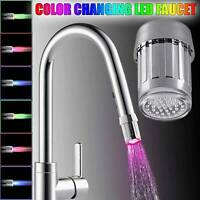 LED Water Stream Faucet Light Automatic 7 Colors Changing Shower Spout Sink