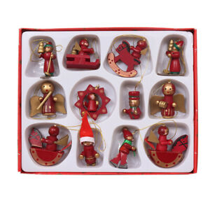 12Pcs/Set Christmas Hanging Ornaments Cartoon Wooden Xmas Tree Home Decor UK