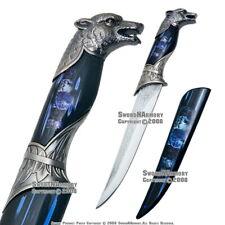 Wolf Fantasy Dagger Bowie Gift Knife w/ Colored Sheath