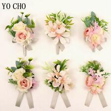 Pink Groom Boutonniere Bridal Bracelet Hand Flower Wrist Corsage Wedding Decor