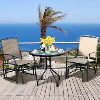 3PCS Patio Bistro Furniture Set Rocking Glider Chair Glass Table W/Umbrella Hole