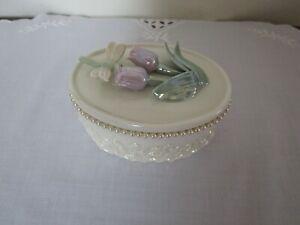 Lenox Trinket Jewelry Box Oval Tulips Dragonfly Pearls MINT Rare