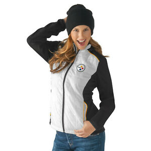 G-III 4her Pittsburgh Steelers Women's First Down Packable Jacket - White/Black