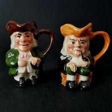 "Two Vintage Miniature Artone Character Jugs 2.5"" tall Toby Jug   :C1"