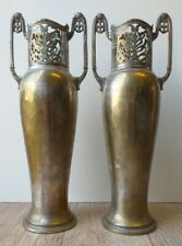 * Rare Art Nouveau Pair WMF Jugendstil Antique Silverplate Vases * 1910 - 1925
