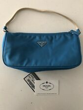 Prada Blue Small Hobo Nylon Calfskin Bag Authentic Purse