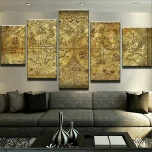 Vintage Old World Map 5 Pieces Canvas Wall Art Poster Print Home Decor