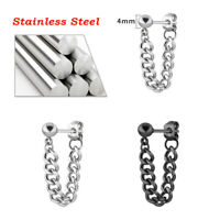 Men's Stainless Steel Chain Dangle Ear Stud Clip Piercing Punk Earrings Gift