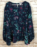 Terra Sky women 4X top blouse smocked peasant woven blue floral new 28/30W G4