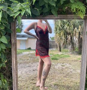 Women's Vintage Red & Black Floral Lace Slip Dress Size XXL Good Condition