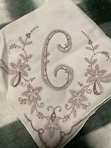 Ladies Handkerchief Monogrammed Letter C Vintage With Cut Outs & Embroidered
