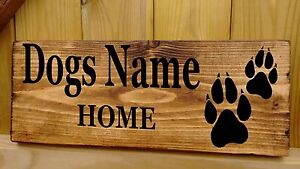 Dog Name Sign Personalised House Plaque Kennel Bed bowl feeding food House New