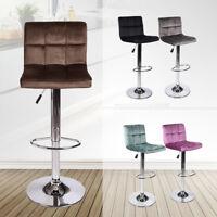 Set of 2 Bar Stools Adjustable Hydraulic Swivel Velvet Dining Counter Chair Pub