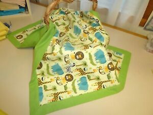 "Jungle Animals Flannel Blanket Approx 36"" X 27"""
