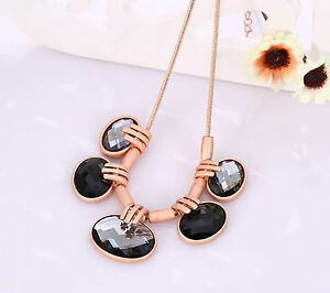 Vintage Rose Gold Plated Statement Necklaces Oval Rhinestone Cylinder Women Girl
