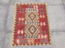 Kilim Old Traditional Hand Made Afghan Oriental Kilim Red Brown Wool 88x69cm
