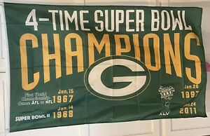 Green Bay Packers 4-TIME Super Bowl Champions FLAG 3'X5'