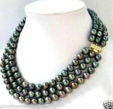 Beautiful 3 ROWS 8-9MM AAA++  BLACK PEARL NECKLACE 14K 17-18-19 INCH