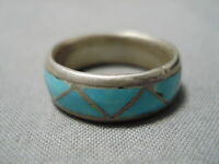 IMPRESSIVE VINTAGE NAVAJO INLAY BLUE TURQUOISE STERLING SILVER RING OLD