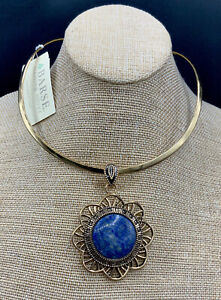 Barse Santorini Collar Necklace-Lapis & Bronze- New With Tags