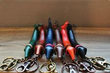 Leather Key Chain - Dachshund Shape with Italian Buttero Leather