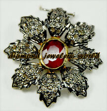 Silver Artdeco Estate Brooch Pin Jewelry 2.68cts Rose Cut Diamond Ruby Studded