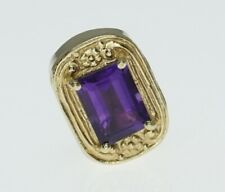 14K Yellow Gold Old Victoria Slide Bracelet Charm Rectangle Amethyst