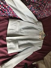 BNWT MARKS & SPENCER PALE BLUE SUEDE BOX JACKET SIZE 14