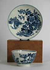 1st Period Dr. Wall Worcester tea bowl and saucer. 'Fence' pattern c1765